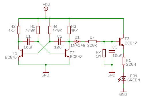 Breathing LED circuit diagram
