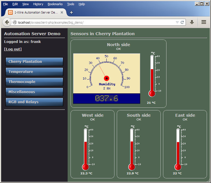 1-Wire Server PHP Client Web Interface