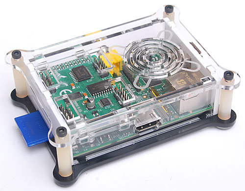 Enclosure for use with Raspberry Pi computer with I/O card